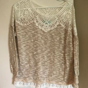 Tops - Tan and lace top